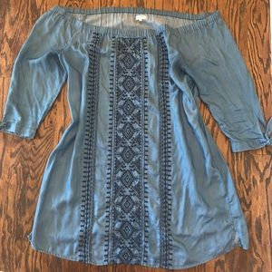 Dresses & Skirts - Denim embroidered chambray loose dress 1x XL